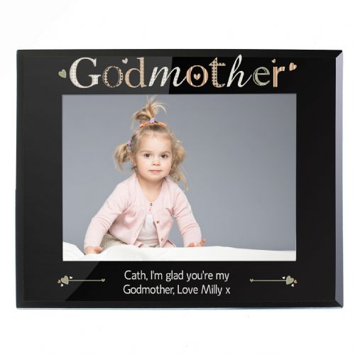 Personalised Godmother Black Glass 5x7 Frame